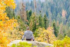 Turista che fa un'escursione nel parco nazionale della sequoia all'autunno Fotografie Stock