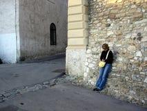 Turista che prende una rottura Fotografia Stock