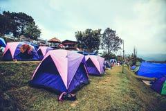 Turista che si accampa nella montagna Doi SureYa, Doi Inthanon, ChiangMai, della Tailandia - nebbiosa in una mattina Fotografie Stock
