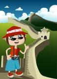 Turista com Grande Muralha ilustração royalty free