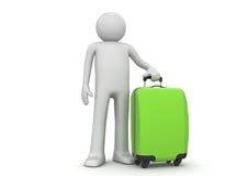 Turista com mala de viagem verde Foto de Stock Royalty Free