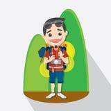 Turista com objetos para o curso projeto de caráter - ilustração do vetor Imagens de Stock