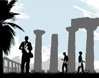 Turista com templo histórico Imagens de Stock