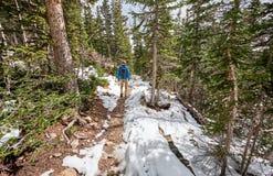 Turista com a trouxa que caminha na fuga nevado imagens de stock royalty free