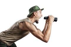 Turista con binoculare Fotografie Stock
