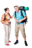 Turista con dolor abdominal y su novia en blanco Imágenes de archivo libres de regalías