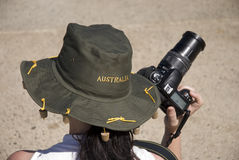 Turista con la macchina fotografica/Australia Fotografia Stock