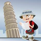 Turista con la torre de Pisa stock de ilustración