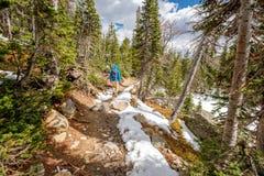 Turista con lo zaino che fa un'escursione sulla traccia nevosa Fotografie Stock Libere da Diritti