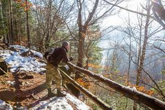 Turista con uno zaino su una passeggiata nella foresta di autunno immagine stock libera da diritti