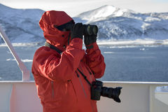 Turista da aventura em Continente antárctico Foto de Stock Royalty Free