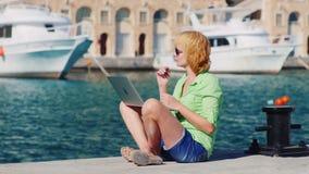 Turista da mulher que fala no bate-papo video usando um portátil vídeos de arquivo