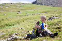 Turista das montanhas imagens de stock royalty free