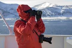Turista de la aventura en Ant3artida foto de archivo libre de regalías