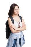 Turista de la mujer joven con la mochila Foto de archivo libre de regalías