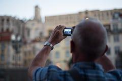 Turista de Lisboa Lisboa que toma a imagem Fotografia de Stock