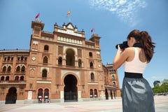 Turista de Madrid - Toros De Las Ventas, España Foto de archivo