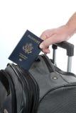 Turista dei bagagli del passaporto Fotografia Stock Libera da Diritti