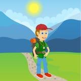 Turista del hombre joven con la mochila que se coloca en una trayectoria stock de ilustración