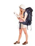 Turista del viaggiatore con zaino e sacco a pelo della donna Fotografie Stock Libere da Diritti