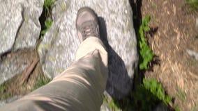 Turista della donna che cammina su una strada di pietra nel parco video d archivio
