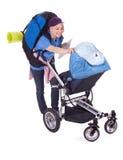Turista della signora e buggy di bambino Fotografia Stock Libera da Diritti