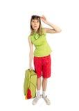 Turista divertido de la muchacha con el bolso verde en sunglass foto de archivo libre de regalías
