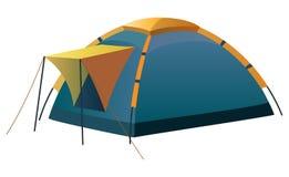 Turista e barraca de acampamento Fotografia de Stock