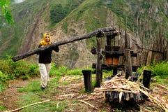 Turista em trekking no Peru foto de stock