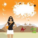 Turista en el desierto, camellos stock de ilustración