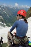 Turista en las montañas del Cáucaso Fotografía de archivo libre de regalías