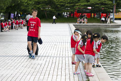 Turista europeo en Corea Imagen de archivo