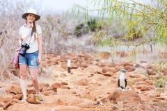 Turista fêmea em Ilhas Galápagos foto de stock