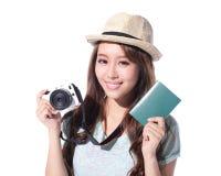 Turista felice della donna Immagini Stock Libere da Diritti