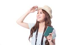 Turista felice della donna Fotografia Stock