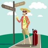 Turista feliz stock de ilustración