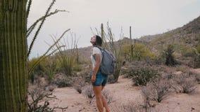 Turista femenino feliz joven de la cámara lenta con la mochila que explora el desierto enorme increíble del cactus en el parque n almacen de video