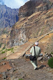 Turista-fotógrafo com um grande saco da foto Fotografia de Stock