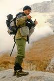 Turista-fotógrafo. Kamchatka. Fotografía de archivo