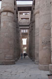 Turista fra le colonne di Karnak Luxor, Egitto Fotografie Stock