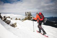 Turista maschio in racchette da neve della neve Immagine Stock