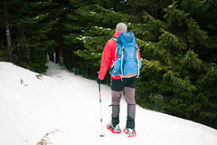 Turista maschio in racchette da neve della neve Immagini Stock