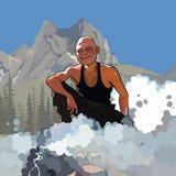 Turista masculino dos desenhos animados que senta-se por um fogo de fumo nas montanhas Imagem de Stock