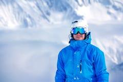 Turista masculino en equipo del esquí Fotografía de archivo libre de regalías