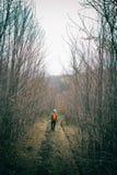 Turista na fuga da floresta Foto de Stock Royalty Free