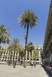 Turista na plaza real em Barcelona, Espanha Foto de Stock