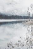 Turista nel lago della montagna di inverno Immagine Stock Libera da Diritti