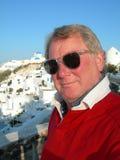 Turista no santorini grego dos consoles Fotos de Stock Royalty Free