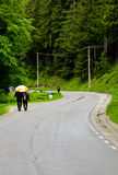 Turista que anda na estrada Foto de Stock Royalty Free