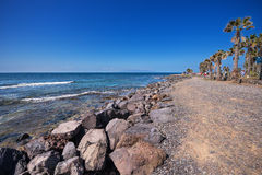 Turista que anda no litoral de Las Americas o 23 de fevereiro de 2016 em Adeje, Tenerife, Espanha Fotografia de Stock Royalty Free
